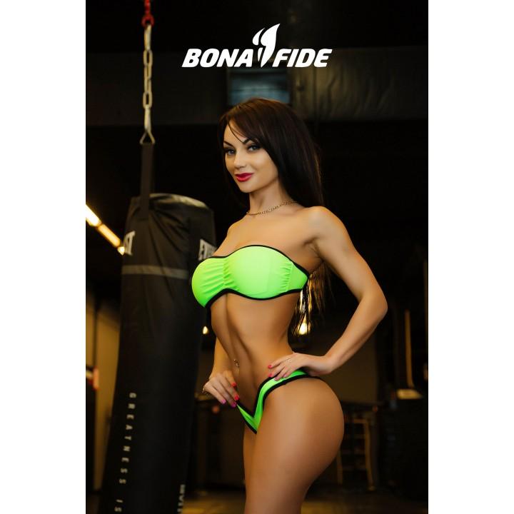 "Купальники Bona Fide: BrazilianPussy ""Acid Green & Black"""